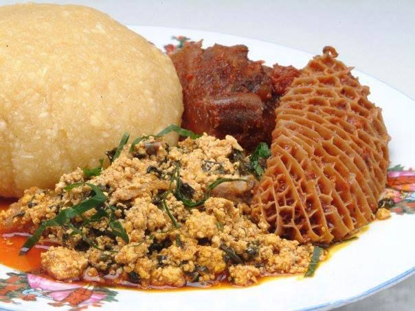 Nigerian Foods And Recipes: Eba And Egusi Soup (Efo