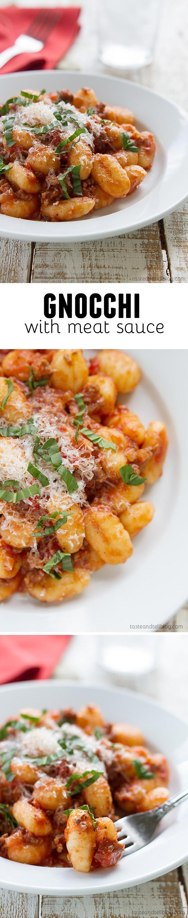 Gnocchi with Meat Sauce - This easy stove-top dinner brings together potato gnocchi with a hearty meat sauce for an easy dinner recipe that the whole family will love.