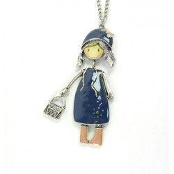 Colgante de muñeca plateado con vestido azul y botas rosas