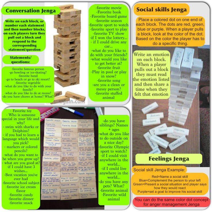 Jenga ideas - social skills, fun conversations, anger management skills, emotions-  fun family game.