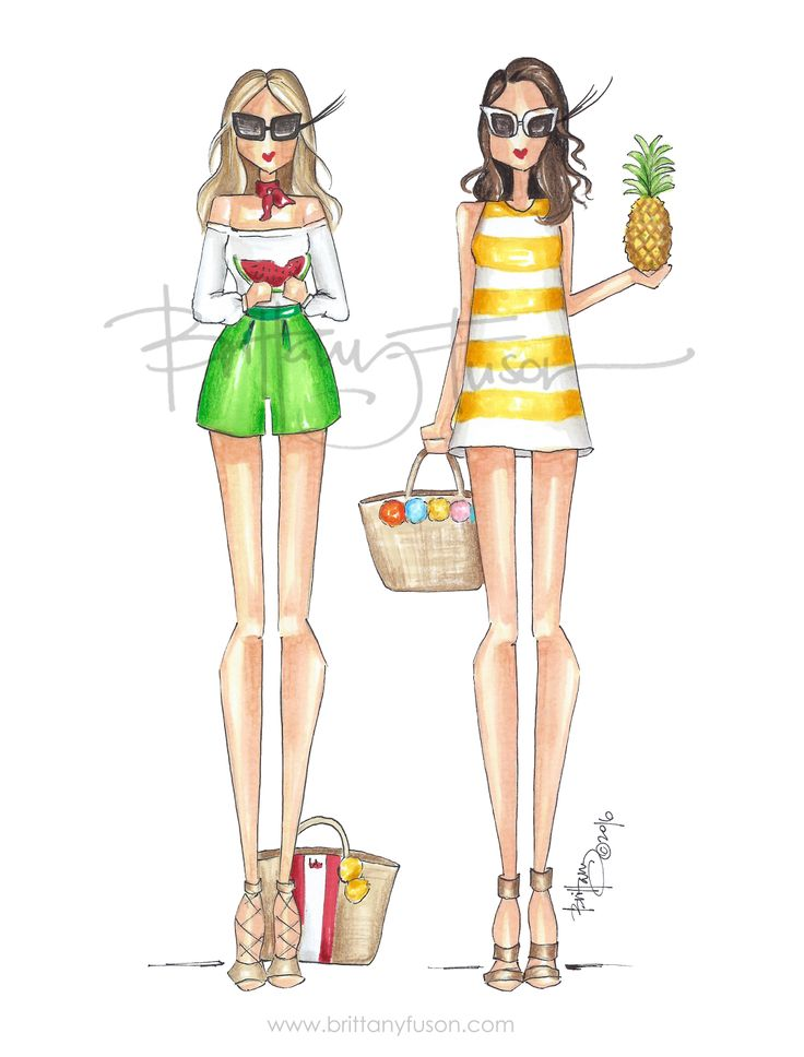 fruit punch | pineapple | watermelon | 4th of july | picnic style | fashion illustration | summer | Brittany Fuson
