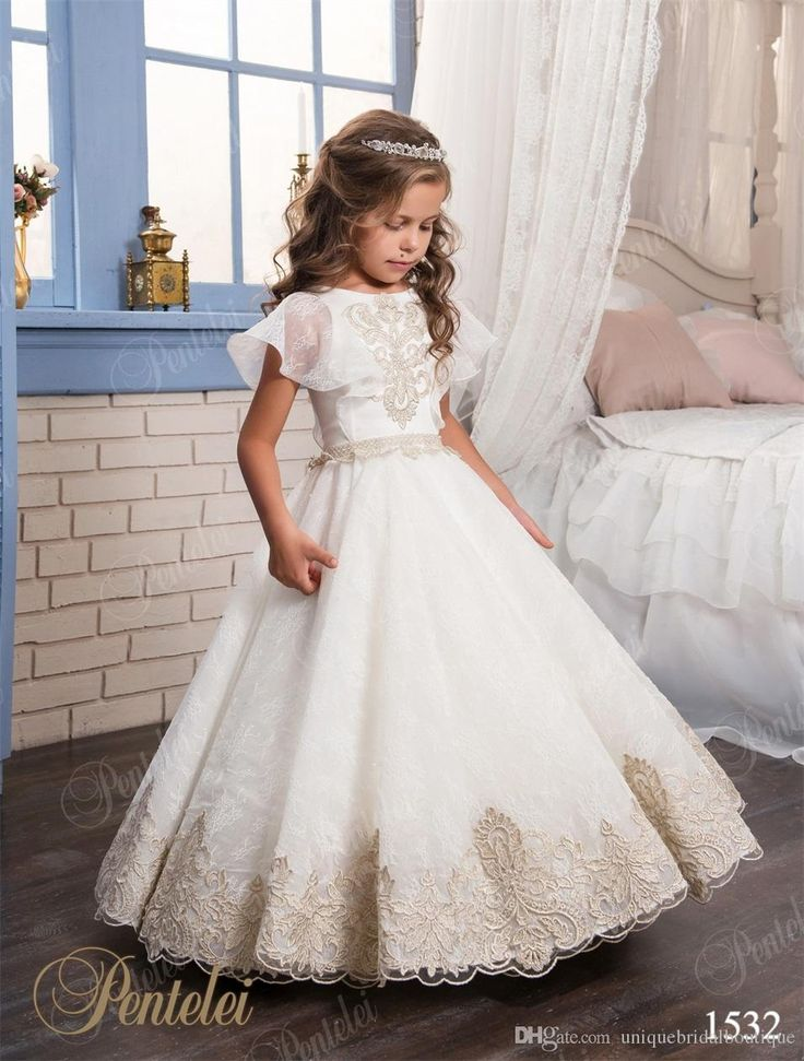 Princess Flower Girls Dresses 2017 With Short Sleeves And Floor Length Appliques Lace Girls Wedding Gowns Custom Made Bridesmaids Maxi Dresses From Uniquebridalboutique, $81.16| Dhgate.Com