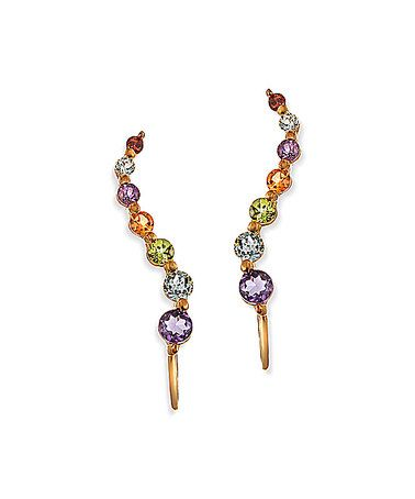 Look what I found on #zulily! Gold & Rainbow Gemstone Journey Ear Pin Earrings #zulilyfinds
