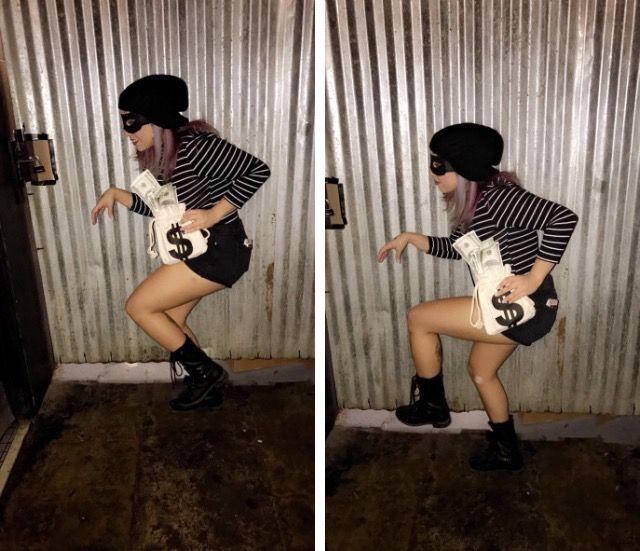 Easy DIY Robber costume for women #sexyrobber #burglar #theif #halloween #robber