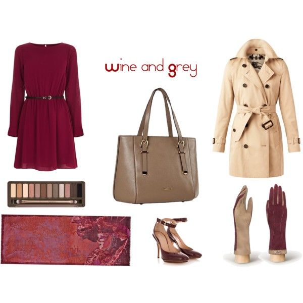 """wine and grey"" by mirra-morgenstern on Polyvore"