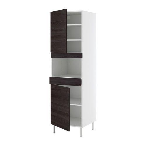 FAKTUM Hoge kast magnetron+lade/2deuren IKEA 2 versterkte planken geven extra stabiliteit bij het inbouwen van apparatuur.