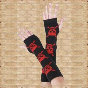 These long black gloves have skulls and crossbones up the arms. These fingerless gothic gloves will keep you warm in style. The Red Skull Arm Warmers by Queen of Darkness in the Skulls and Dragons gloves range.    Weight : 20.00g    Made from cotton    Ref : SDAGL111506   Price : 8.99 GBP