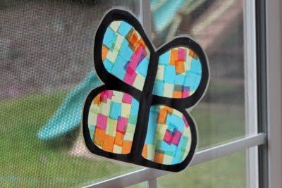 Butterfly stained glass butterfly arts and crafts for for Stained glass window craft with tissue paper