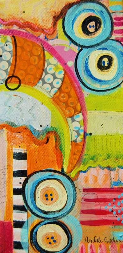 """Ardith's Art Journal: Intuitive Painting Within A Framework  6"""" by 12"""" mixed media on canvas by Ardith Goodwin"""