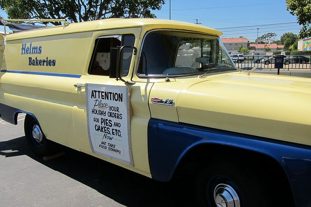 Helms Bakery trucks used to cruise through our neighborhoods selling sinfully good baked goods. I remember them from 1950's-'60's in the Los Angeles and Orange County, California areas.