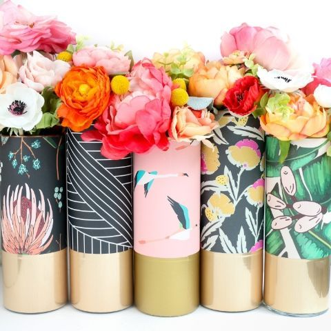 Line up colorful vases in your mom's room with beautiful flowers for the best mothers day surprise.