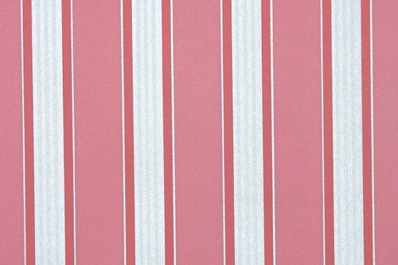 Retro Flock Wallpaper by the Yard 70s Vintage Flock Wallpaper – 1970s Pink and Metallic Silver Stripe Flock
