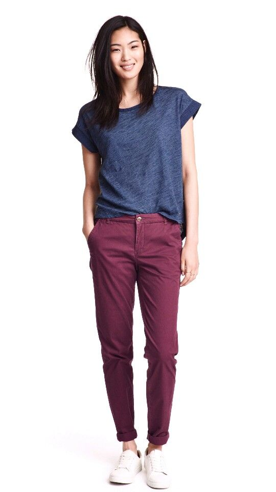burgundy chino pants - H&M
