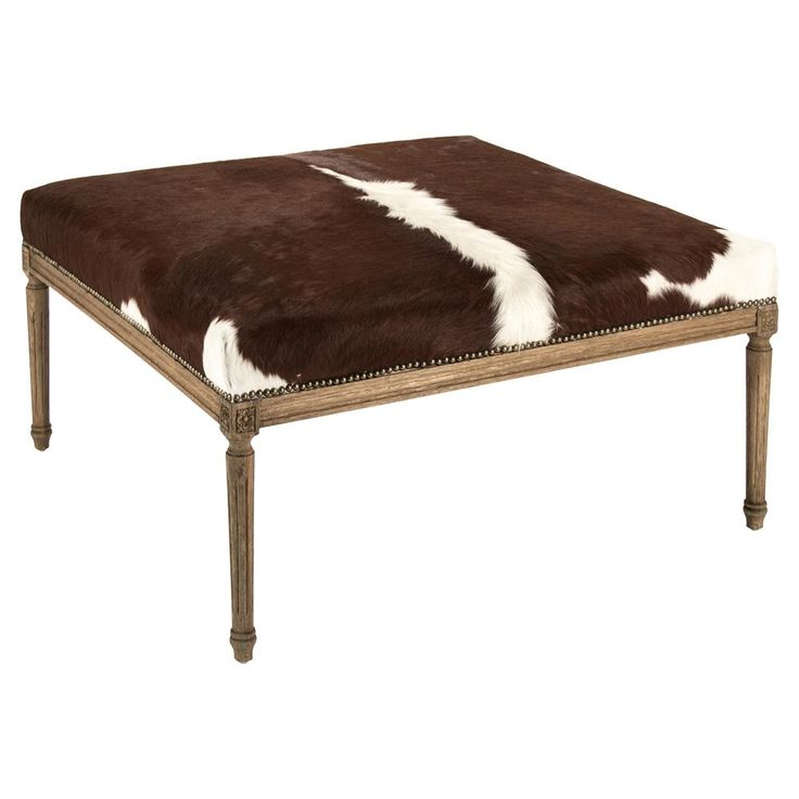 Daxton Rustic Lodge Spotted Cowhide Oak Ottoman | Kathy Kuo Home