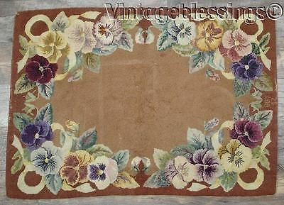 Antique Pansies Cottage Hooked Rug Dated 1952 37x26