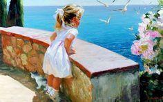 Cuadros Modernos Pinturas : Paisaje Marino con Mujer, Pintura al Óleo,