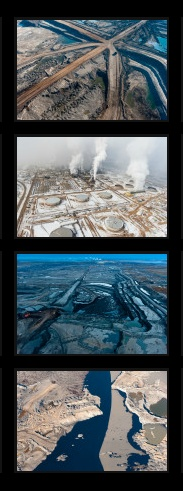 Canadian photographer Garth Lenz's latest exhibition is called: The True Cost of Oil. He juxtaposes images of the tar sands in Northern Alberta - (for the past fifty years bitumen has been extracted out of the land) - with its neighbouring landscape, the world's largest pristine boreal forest, which is downstream from the toxic tar sands. The Harper government has been preparing for mass expansion of the tar sands bitumen extraction and more devastation with the Keystone XL Pipeline.