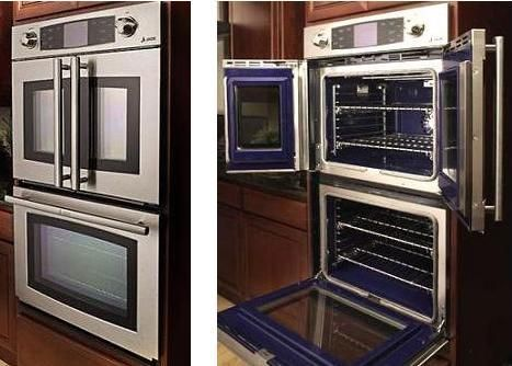 Jade's double wall oven has both French doors and a traditional door