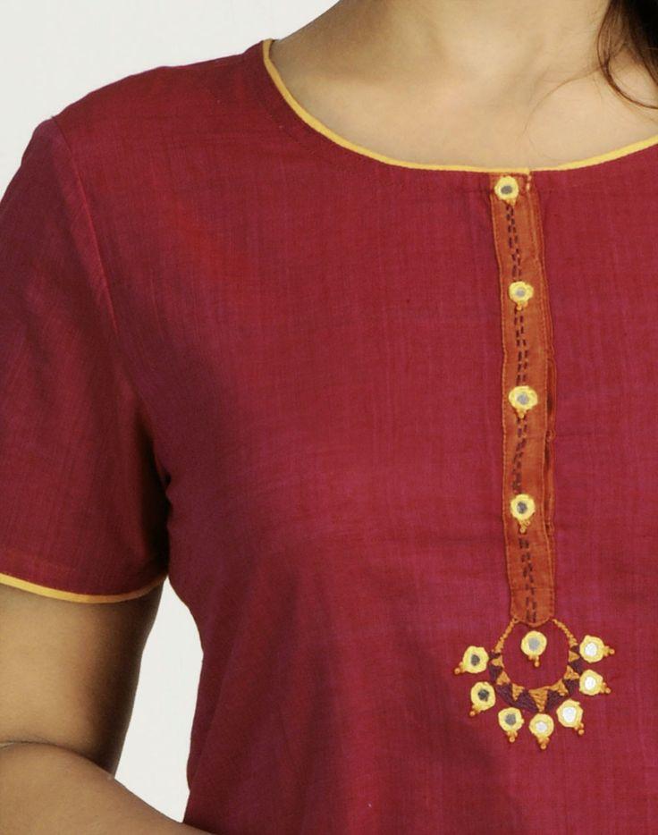 Fabindia.com | Cotton Mangalgiri Button Patti Embroidered Mini Kurta