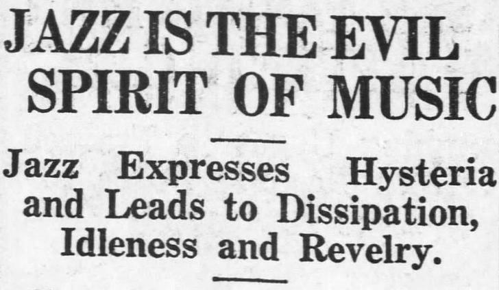 """yesterdaysprint: """" The Charlotte News, North Carolina, May 9, 1921 """" Jazz is therapeutic for me lol"""