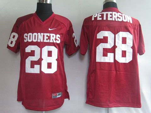 Men's NCAA Oklahoma Sooners #28 Peterson Red Jersey