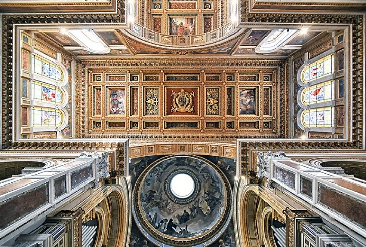 Photographer Captures the Amazingly Ornate Ceilings of Roman Churches on an Architectural Pilgrimage - My Modern Met  --  idea for tangle