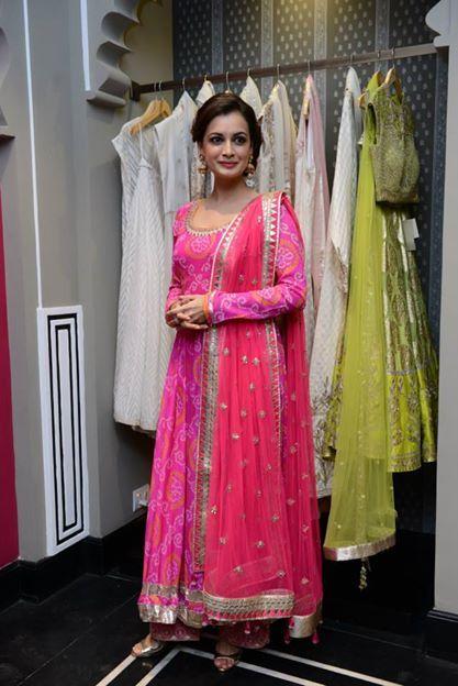 Dia Mirza at http://shop.AnitaDongre.com/ store launch at http://www.dlfEmporio.com/ Vasant Kunj, New Delhi in the designer's beautiful pink Bandhani Anarkali, w/ gold Jhumkis & Sandals, Aug, 14