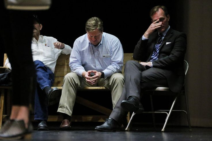 Draper Mayor Troy Walker and Salt Lake County Mayor Ben McAdams attend a meeting of angry Draper residents at Draper Park Middle School on Wednesday, March 29, 2017.