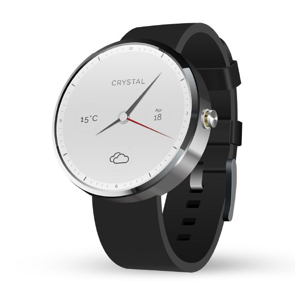 The Crystal watch, as the name suggests, is an elegant and clean looking interface aimed for the working class. It is an IOS based interface, which gives users the time, weather, temperature in celcius, month and date at a glance. The watch also has a night mode during which the entire interface glows allowing no disruptions. The watch comes with two types of leather straps, white and black. It slao has icons which gives users a clear picture of the weather or time.