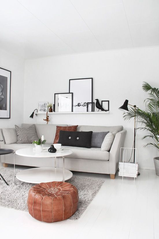 Living room, neutrals, black and white, scandinavian