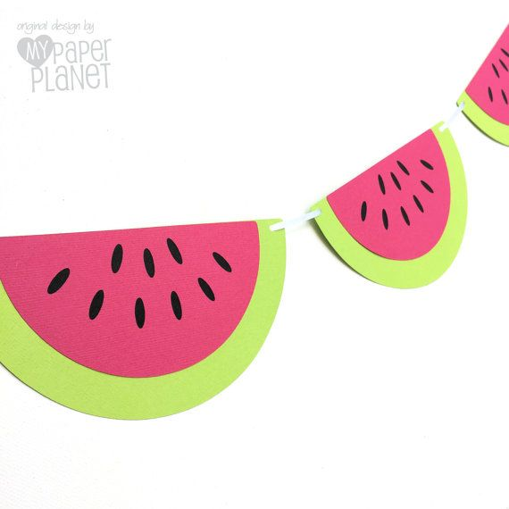 Watermelon Garland. Bright Pink & Lime Green. Photo prop, party decorations handmade by MyPaperPlanet