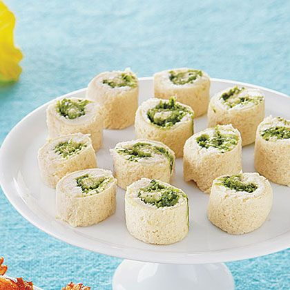 Creamy Pesto Pinwheels @  http://www.myrecipes.com/how-to/5-to-try/ideas-for-summer-appetizers-10000001903404/page14.html