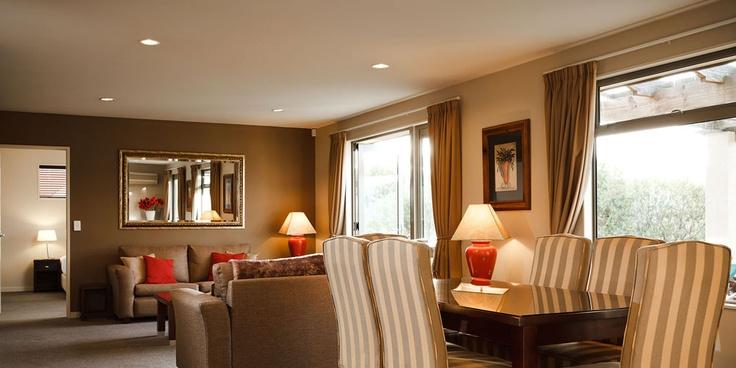 Three bedroom lodge living area at Vintners Retreat, Blenheim, Marlborough, NZ  #unique #experiences #newzealand #gourmet #journeys  #luxury #premium #travel