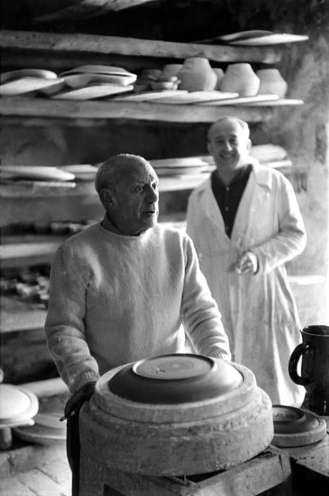 Pablo Picasso at the ceramist Ramier's studio by Henri Cartier-Bresson, 1953.