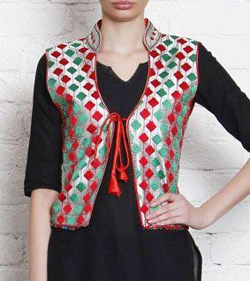 Multicoloured Phulkari Embroidered Silk Jacket