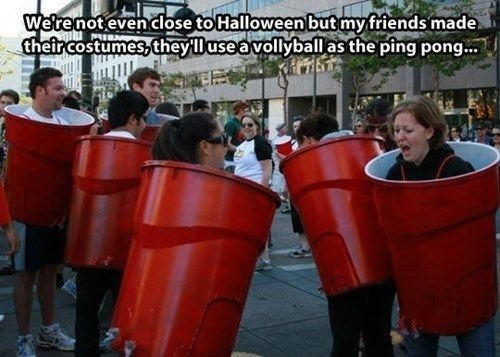 Beer Pong   31 Rad Group Costume Ideas To Steal This Halloween
