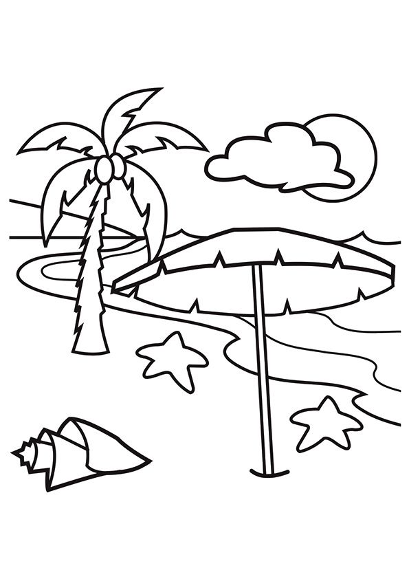 Hawaiian Beach Coloring Page For Toddler