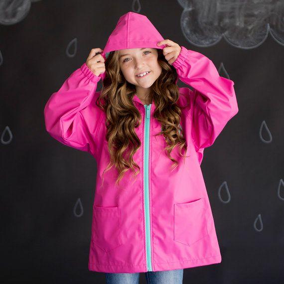 Girls Hot Pink Monogrammed Rain Jacket ~ Monogrammed Rain Coat ~ Monogrammed Rain Jacket ~ Monogrammed Rain Coat ~ Personalized Jacket