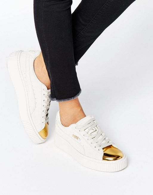 Puma suede platform sneaker in white with gold toe cap $113   Asos