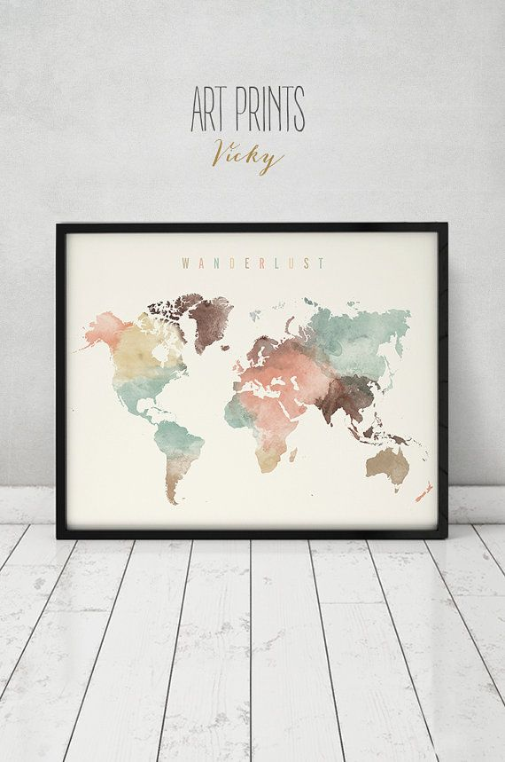 Wanderlust World Map Watercolor Print World Map Poster Travel Map Watercolor Typography