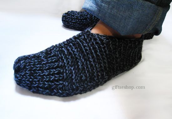 Knitting Pattern For Slippers That Look Like Sneakers : Easy Slippers Knit Pattern for Men Knit with Two Needles acsessories Pint...