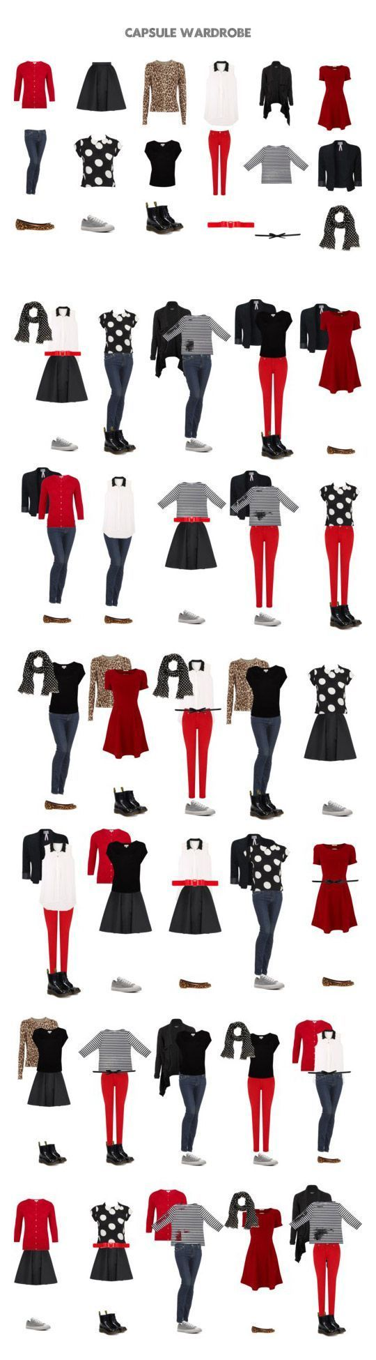 Wardrobe Capsule: black, red, white, leopard. Has great potential with some personal taste modifications. KT