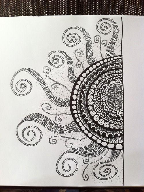 octopus legs!  Sun Zentangle - Doodle - (Tangletime website)