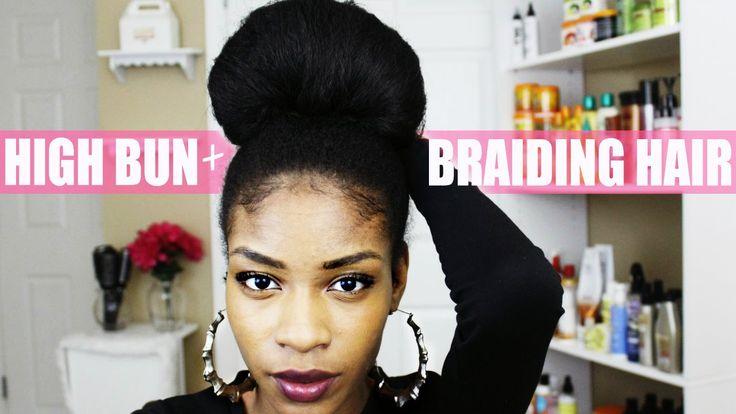 Natural Hair Bun with Kanekalon Braiding Hair   Natural ...