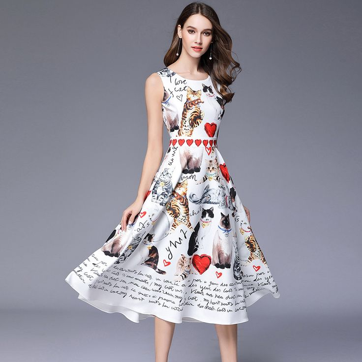 >> Click to Buy << High Quality Summer Dress Runway Cat Printed White Ukraine Women Ruffles Clothing Womens Sexy Dresses Party Night Club Dress #Affiliate