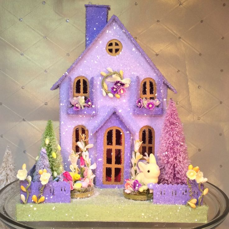 Easter Putz Cottage(Large)Glitterhouse. Lavender with Bunny & Chick. by glitteratmidnight on Etsy https://www.etsy.com/listing/592593261/easter-putz-cottagelargeglitterhouse