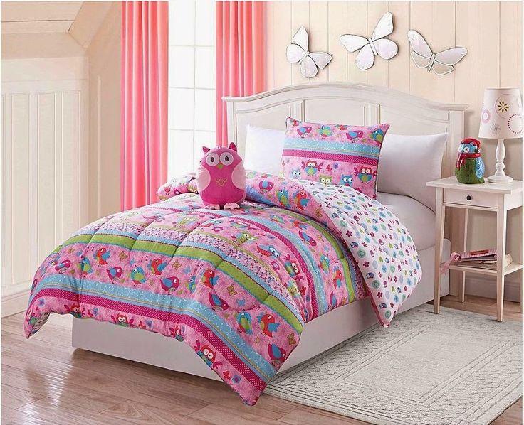 cool pink owl love twin comforter set