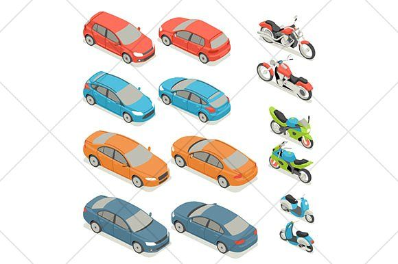 isometric cars and motorcycles icons by Kurokstas on @creativemarket