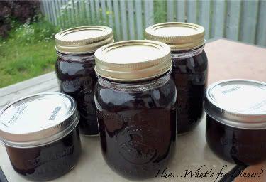Blueberry rhubarb jam - no pectin!  8 c. blueberries, 4 c. rhubarb, 4 c. sugar, lemon, and water.