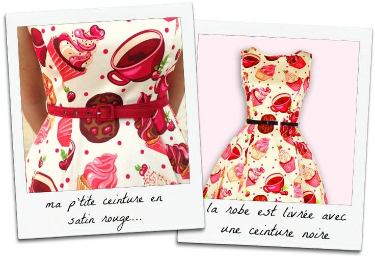 """Robe """"cupcakes"""" par Lady Vintage: à gauche avec ma ceinture en satin rouge et à droite, la ceinture noire livrée avec la robe. Pinup années 50 vintage, missretrochic.com"""